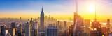 Fototapeta Kuchnia - Aerial view of New York City Manhattan at sunset