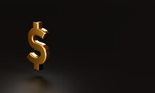 Realistic Golden US Dollar Sign On Dark Background And Copy Space , USD Is The Main Currency For Exchange In The World . 3D Rendering And Illustration Technique.