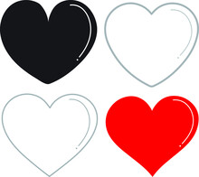 Heart Icon Collection, Vector,icon Web, Illustration, Symbol, White Background 2