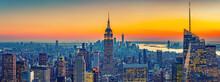 Aerial View Of New York City Manhattan At Sunset