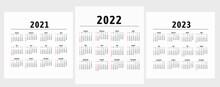 Calendar 20212022 2023 Years. Vector. Week Starts On Sunday.