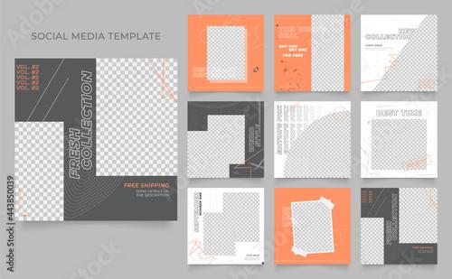 social media template banner blog business promotion. fully editable instagram and facebook square post frame organic sale poster. grunge grey orange white vector background