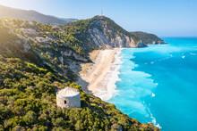 The Impressive Milos Beach With The Turquoise Shaded Sea On The Island Of Lefkada, Ionian Sea, Greece