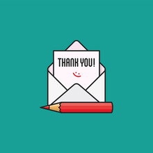 Thank You Note In Envelope With Red Pencil Vector Illustration