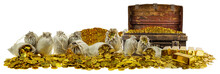 A Lot Of Stacking Gold Coins In Treasure Stack And Gold Bar 1kg On White Background