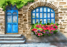 Watercolor Illustration Of The Facade Of An Ancient Colorful House Lined With Stone, With A Large Window, A Wooden Turquoise Door And Flowers Under The Window