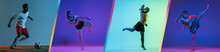 Young MMA Fighters And Footballer Practicing Isolated Over Blue Purple And Gray Background In Neon Light. Flyer