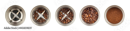 Fotografija Set of coffee grinder, top view: an empty, a coffee grinder with whole coffee beans, with ground coffee