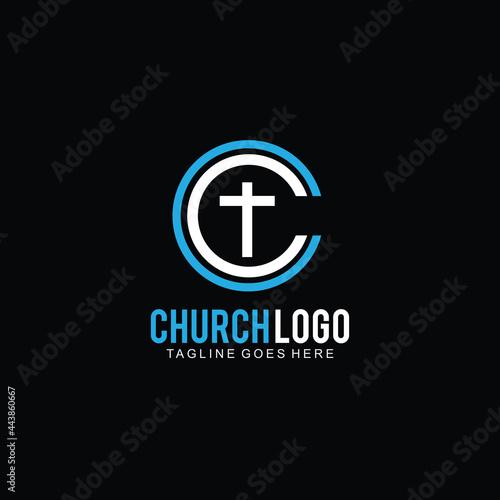Cross logo for church design template or icon cross for christian community Fotobehang