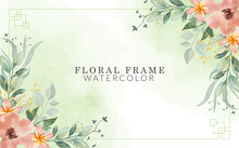 Floral Frame Watercolor With Hand-drawn
