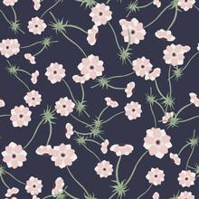 Nature Seamless Pattern With Random Little Pink Anemone Flowers Print. Navy Blue Dark Background.