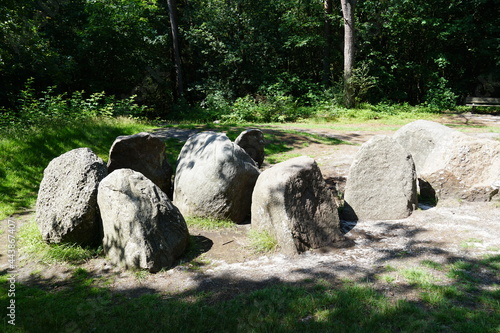 Fotomural Ancient stone burial chamber called a hunebed near the village of Exloo in Drenthe province in the Netherlands