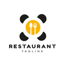 Gold Table With Spoon, Fork, And Chairs For Restaurant Logo Design