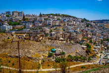 View On Silwan Or Siloam Is Arab Neighborhood In East Jerusalem, On Outskirts Of Old City Of Jerusalem. Part It Builted Atop Necropolis Cemetery Of Ancient Judea. Jerusalem, Israel