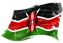 A Kenyan Flag In The Wind With A Texture