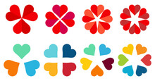 Hearts Arranged In Circle Forming Flower Like Shape Three To Six Icon Version - Can Be Used As Infographics Element
