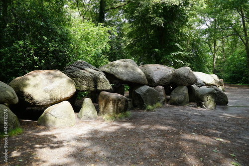 Canvas Print Ancient burial chamber called a hunebed or dolmen in the village of Borger, Dren
