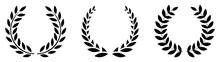Set Black Silhouette Circular Laurel Foliate. Silhouette Laurel Wreath. Vector Black Laurels Set