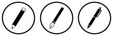 Pen Simple Icon. Pencil Icon. Pen Icons Set. Vector