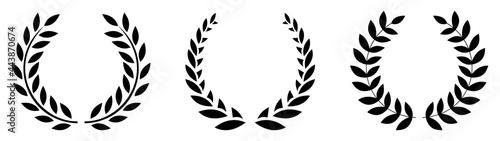 Fotografie, Obraz Set black silhouette circular laurel foliate