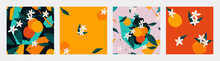 Trendy Seamless Pattern Set. Contemporary Art Collage Of Oranges With Blossom Flowers, Leaves And Geometric Forms. Modern Minimal Design For Print, Paper, Packaging, Cover, Fabric, Interior Decor