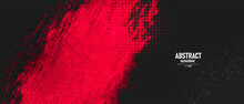 Black And Red Abstract Grunge Background With Halftone Style.