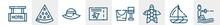 Summer Line Icons Such As Hotel Hanging, Slice Of Melon, Pamela Hat, Plane Ticket, Sand Bucket And Shovel, Waterski Outline Vector Sign. Symbol, Logo Illustration. Linear Style Icons Set. Pixel