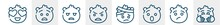 Emoji Line Icons Such As In Love Emoji, Anguished Emoji, Bo Angry With Head-bandage Hugging Outline Vector Sign. Symbol, Logo Illustration. Linear Style Icons Set. Pixel Perfect Vector Graphics.