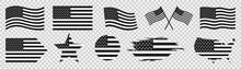 Usa Flag Icons Set, United States Of America Flag, Vector Illustration