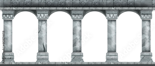 Fotografering Stone arch vector illustration, marble ancient Roman colonnade, Greek antique pillars isolated on white