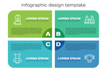Set Line Hippo Or Hippopotamus, Camping Lantern, African Buffalo Head And Binoculars. Business Infographic Template. Vector