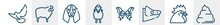 Woof Woof Line Icons Such As Flying Dove, Sheep With Wool, Basset Hound Dog Head, Sheep Front View, Butterfly Wings, Pile Of Dung Outline Vector Sign. Symbol, Logo Illustration. Linear Style Icons