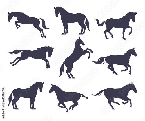 Canvas Side View of Racing Horse Silhouettes Set, Equestrian Sport, Derby Vector Illust