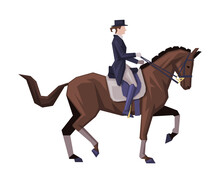 Gentleman Riding Horse, Man In Vintage Style Clothes Sitting On Horse Vector Illustration