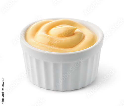 Canvas Print Ceramic  dipping cup of cheese sauce