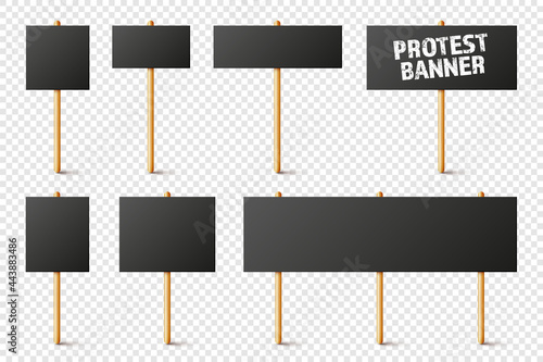 Fotografering Blank black protest signs with wooden holder