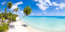 Tropical Island With White Sand Beach And Turquoise Sea