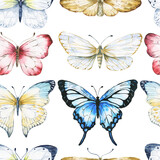 Watercolor seamless pattern with butterflies, repeating background. Watercolour illustration.