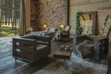 Dark Cozy Interior Of Big Country Wooden House, Wooden Furniture And Animal Furs. Huge Panoramic Window And Very High Ceiling.