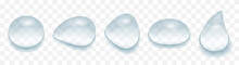 Realistic Water Drop Set. Isolated Transparent Water-drops Mockup. Rain Droplets 3D. Blue Shiny Shapes With Shadow, Vector Illustration.