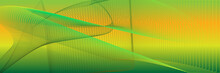 Abstract Green Background With Gradation Pattern Wave Pattern With Yellow Green Color Combination