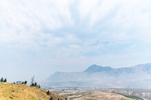 Wildfire Smoke In Juniper, Kamloops, British Columbia, Canada. Community Was Evacuated Due To A Wildfire Just Below.