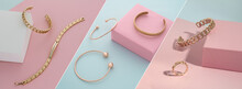 Photo Collage Of Golden Accessories Collection On Pastel Colors Pink And Blue Background