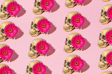 Skull Pattern With Pink Flower.  Creative Halloween Background. Minimal Romantic Fashion Koncept.