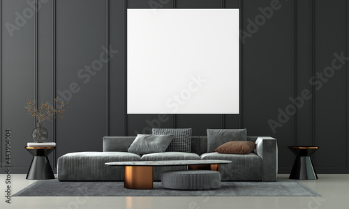 Canvas Modern living room interior and sofa and black empty wall texture background and