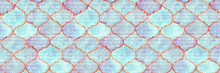 Quatrefoil Seamless Pattern For Header. Blue And Indigo Damask Print. Geometric Morrocan Tile. Lattice Marrakesh Watercolor Header. Rhombus Majolica Background. Barbed Watercolour Trellis.