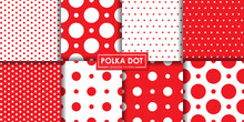 Classic Red Polkadot Seamless Pattern Collection, Abstract Background, Decorative Wallpaper.