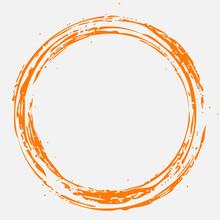 Brush Painted Orange Circle. Vector Drawn Ring.