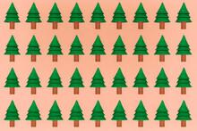 Illustration Of Pine Trees On Brownish Background