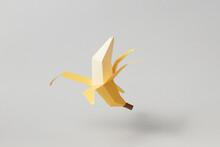 Papercraft Yellow Banana With Open Peel
